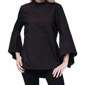 Pleione bell-sleeved mock neck blouse